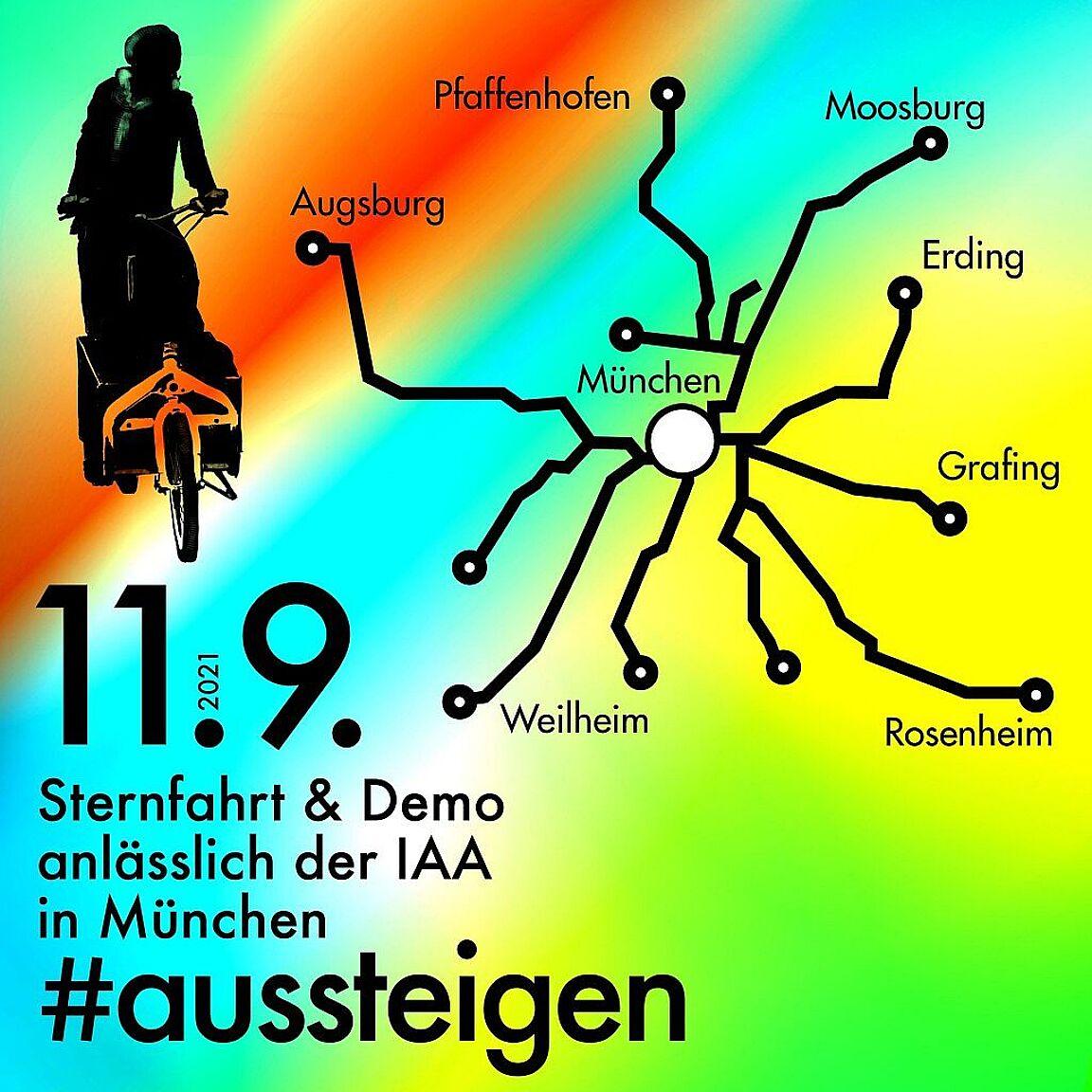 #Aussteigen – Klimaschutz statt Autolobby: Radsternfahrt am Samstag, den 11.09.2021